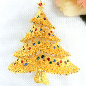 vintage gold rhinestone Christmas tree brooch pin